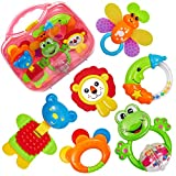HERSITY Baby Rassel und Beißring Set mit Koffer Greifspielzeug Neugeborene Baby Spielzeug ab 3 6 12...