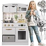 Kinderplay Kinderküche, Spielküche Holz - Küchenspielzeug Weiß und Gold mit Zubehör,...