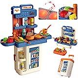 Kinderküche, 4 in 1 Trolley Koffer Spielküche inkl. Kochfeld mit Sound und Licht, Wasserhahn mit...