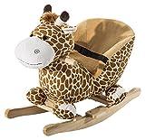 HOMCOM Schaukelpferd Schaukeltier Schaukelspielzeug Babyschaukel Kinder Spielzeug mit Lieder L60 x...