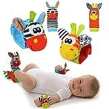 Baby Rassel-Spielzeug - Cute Animal Infant 4 (2 Taille und Socken) Soft Wrist Strap Rattles & Foot...