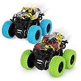 2 Stück Monster Truck Spielzeug ab 3 Jahren,Reibungsbetriebene Rennwagen LKW Zurückziehen,360...