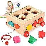 O-Kinee Steckwürfel aus Holz, Sortier Stapel Steckspielzeug Montessori Lernspielzeug,...