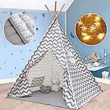 Tiny Land Tipi Spielzelt für Kinder Kinderzimmer mit Gepolsterter Matte & Lichterkette- Drinnen...