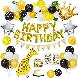 Geburtstagsfeier Dekorationen, Walking Giraffe Luftballons, Gold Happy Birthday Banner, Schwarz Gelb...