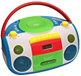 HARLEKIN TRAGBARER Kinder Radio-Kassetten-CD Player I STEREOANLAGE I Boombox I Weiss GRÜN BLAU ROT...