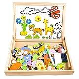 Cooljoy CL-8850 Magnetisches Holzpuzzles Puzzle-Spiele, Doppelseitiges Puzzle- und...