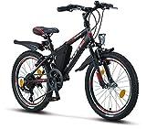 Licorne Bike Guide, (Schwarz/Rot/Grau),20 Zoll Mountainbike,geeignet für 6,7,8, 9 Jahre,Shimano 18...