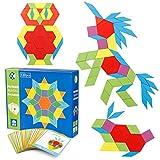 Coogam 130 Stück Holzmuster Blöcke Set Geometrisch Manipulative Form Puzzle - Grafisches Spielzeug...