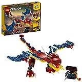 LEGO 31102 Creator 3-in-1 Feuerdrache, Feuerdrache - Säbelzahntiger - Skorpion Bauset, Spielzeug...