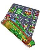 Ondis24 Kinder Spielteppich groß, Kinderteppich Straße & Bauernhof Design, Maße 80x120 cm,...