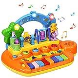 COSTWAY Babyspielzeug Klavier, Musikspielzeug mit integriertem Musikmodi und Tierfamilie, Spielzeug...