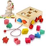 Ulikey Steckwürfel aus Holz, Würfel Puzzle Steckbox Montessori Lernspielzeug, Sortier Stapel...