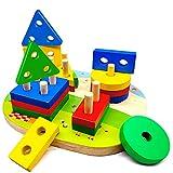 Steckplatte Holz, 16-teilig, Steckpuzzle Holz ab 1 Jahre mit 4 geometrischen Formen, Sortier-und...