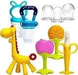 HONGTEYA Beißring für babys 6 Stück Beißring Spielzeug BPA-frei Fruchtsauger Baby 2 Silikon...