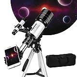 Kacsoo Astronomisches Teleskop tragbar 70mm Objektiv Maximales Vielfaches 150X mit Sternsucher...