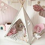 Tiny Land Tipi Spielzelt für Kinder mit gepolsterter Matte & Lichterkette & Aufbewahrungstasche...