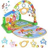 Spielmatte Baby mit Spielbogen, Spieldecke für Baby mit Musik und Lichtern, Kick und Play Piano Mat...