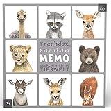 Frechdax® Memo Spiel Tiere Gedächtnisspiel Spielkarten Kinder Memospiel (Grau - Tierwelt Portrait)