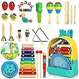 Jojoin 24 Stück Musikinstrumente für Kinder, Holz Percussion Set, Einzigartiges Ocean Wave Bead...