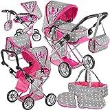 Kinderplay Puppenwagen ab 1 2 3 Jahre Kinderwagen Spielzeug - Grau Kombi, 3 in 1, Spielzeug...