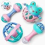 GizmoVine Rassel Baby Spielzeug Baby Rassel Set mit Aufbewahrungsbox ohne BPA Spielzeug für...