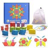 HellDoler Holzpuzzles Geometrische Puzzle 155 Teile Bausteine Montessori Spielzeug Grafische...