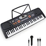 Elektronische Klaviertastatur 61 Tasten mit LCD-Display & Mikrofon Multifunktions Tragbare...