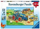 Ravensburger Kinderpuzzle - 07616 Baustelle und Bauernhof - Puzzle für Kinder ab 3 Jahren, mit 2x12...