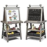 COSTWAY 3 in 1 Kinder Staffelei, Kindertafel doppelseitig, Whiteboard & Kreidetafel & Zeichenpapier,...
