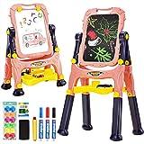 COSTWAY 2 in 1 Kindertafel, Kinder Staffelei doppelseitig, Whiteboard und Kreidetafel, Schreibtafel...