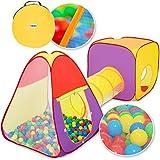 KIDUKU® 3-teiliges Bällebad Spielzelt Babyzelt + Krabbeltunnel + 200 Bälle + Tasche für drinnen...