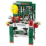Theo Klein 8485 Bosch Werkbank Nr. 1 I 150-teilig I Inkl. Akkuschrauber, Konstruktionsset,...