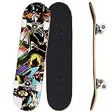 Bunao Skateboard Komplettboard 31 x 8 Zoll mit ABEC-7 Kugellager 9-lagigem Ahornholz für Kinder...
