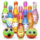 Kegelspiel für Kinder Bowling Ball Set mit 10 Kegel und 2 Bälle in netzbeutel Drinnen Draußen...