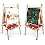 Arkmiido Kinder Tafel Holz,schultafel für Kinder,standtafel Staffelei Hölzern,Höhenverstellbar...