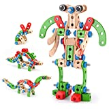 VATOS Holz Konstruktionsspielzeug, Pädagogisches Montessori Spielzeug 96 PCS Holzgebäude Spielzeug...