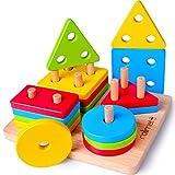 Rolimate Holzpuzzle Steckplatte Holz Sortierspiel Holzsteckspiel Montessori Pädagogisches...