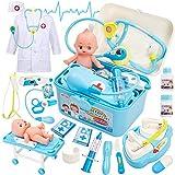 Buyger Kinder Arztkoffer Doktorkoffer Kostüm Arztkittel Medizinisches Spielzeug Rollenspiele ab 3 4...