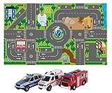 Kids Globe Spielteppich mit Auto Set (leuchtende Ampeln, Kinder-Teppich mit Feuerwehrauto...