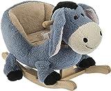 Bieco 74002190 - Plüsch Schaukeltier Esel, grau, Kinder Schaukelstuhl, Sicherheitsgurt und...