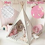 Tiny Land Tipi Spielzelt für Kinder mit Matte & Lichterkette & Aufbewahrungstasche Baumwolle-...