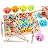 Queta 3 In 1 Holzspielzeug Magnetisches Angelspiel Clip Beads Lernspielzeug Matching-Spiel...