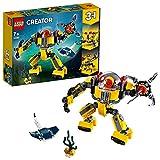 Lego 31090 Creator Unterwasser-Roboter, U-Boot oder Unterwasser-Kran, 3-in-1 Set,...