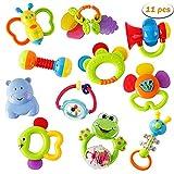 WISHTIME Rassel Beißring Set Baby Spielzeug - Shaker Greifen Rassel Baby Kleinkind Neugeborenen...