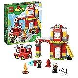 LEGO 10903 DUPLO Feuerwehrwache mit Feuerwehrauto und 2 Feuerwehrmann-Figuren, Licht & Geräusche,...