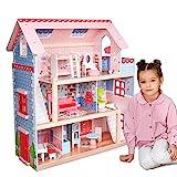 Infantastic® XXL Puppenhaus aus Holz mit LED - 3 Spielebenen, Möbeln/Zubehör, für 13cm große...