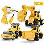 Sundaymot Montage Bagger Spielzeug - Elektrisches baufahrzeuge Spielzeug Set mit Kinder...