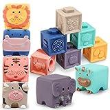 Baby Bausteine Spielzeug ab 12 Monate-Weiche Quetschbare Blöcke, 12 Stück Tiere und Zähle...