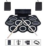 Asmuse™ Drum Elektronisches Schlagzeug Kit 9 Pads Tragbare Roll Up Midi Tabletop E-Drum Schlagzeug...